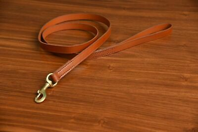 "Heavy Duty Leather Dog Leash Control Extra Strong Lead  6 Ft Long 3/8"" Wide Tan"