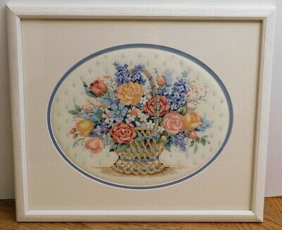 Framed Completed Cross Stitch Flower Basket from 2006