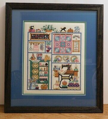 Framed Completed Cross Stitch Sewing Room Treasures from 2004