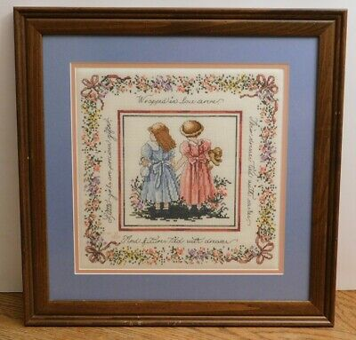 Framed Completed Cross Stitch Little Girls Precious Friends from 2000