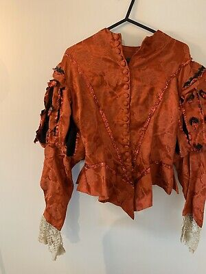 Victorian edwardian red lace theatre collectable blouse