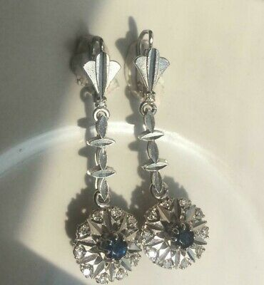 Vintage Antique Palladium Sapphire 0.42 Ct. Diamond Drop  Filigree Earrings