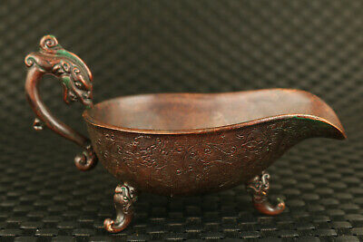 chinese bronze Hand casting dragon statue tea wine cup bowl decoration
