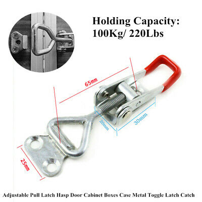 2PCS Metal Toggle Latch Catch Trim Adjustable Pull Latch Hasp Door Cabinet Boxes
