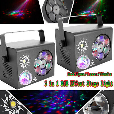 2 x Disco Laser Gobo Party DJ LED RGB Stage DMX Light Lamp Crystal Magic Ball AU
