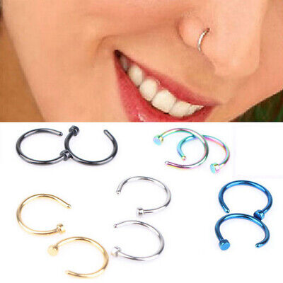 Unisex Nose Ring Fake Hoop Silver Gold Surgical Steel Thin No Piercing Jewellery
