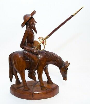 Large Vintage Hand Carved Wood of Don Quixote With is Sword Riding a Horse