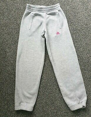 Adidas Girls Jogging Bottoms Age 5-6 years Grey with pink