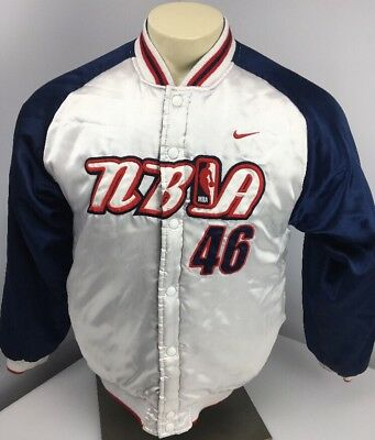VTG 90s Nike NBA Embroidered Snap Up White Satin Jacket NBA Reversible YOUTH L