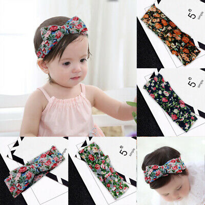 Children Floral Headband Bow Knot Hair Band Rabbit Ears Headwrap Baby  GFP