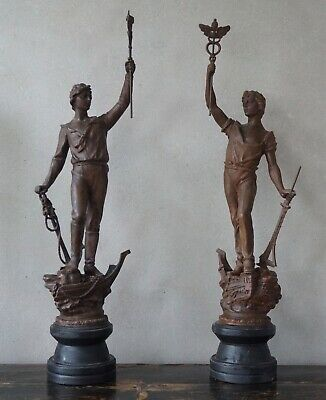 Pair of Antique Statues Large 3ft Figures of Industry Spelter (c)19th Century