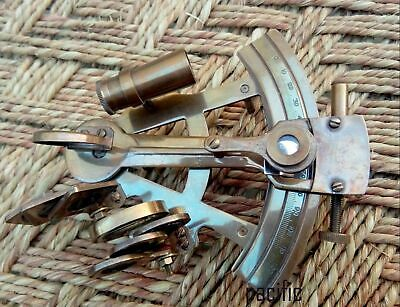 Nautical Brass Sextant Marine Vintage Collectible Brown Antique Xmas Gift..