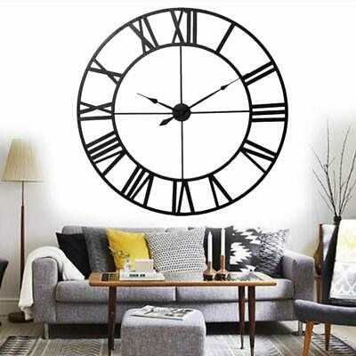 Iron Skeleton Roman Numeral Modern Home Kitchen Wall Clock Art Decor 40cm Black