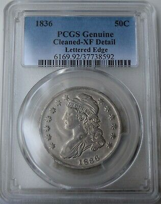 "1836 ""Lettered Edge"" Capped Bust Half Dollar ""PCGS XF Cleaned"""