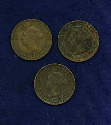 Canada  Victoria  Large Cent Coins: 1886, 1893, 1898-H, Group Lot Of (3)