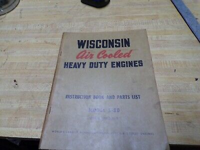 wisconsin air cooled engine instructions parts book model s-8d
