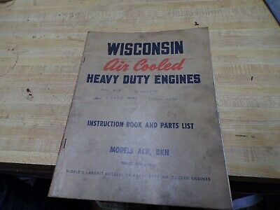 wisconsin air cooled engine instructions parts book model acn bkn