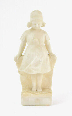 Antique Italian Carved Alabaster Marble Sculpture Little Girl Pondering by Pucci
