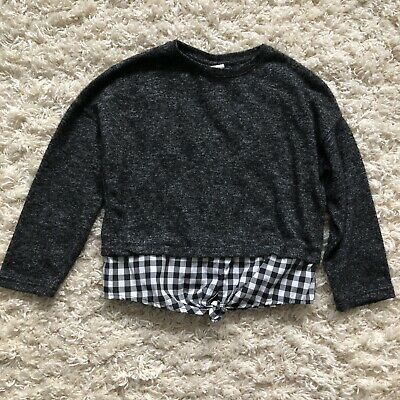 Zara Girls Casual Collection Gray Sweater Plaid Shirt Tail Black White Size 5-Z