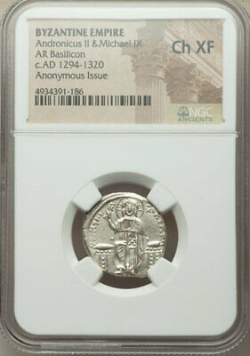 BYZANTINE: Andronicus II Palaeologus & Michael IX, AR Basilicon, 22mm NGC Ch XF