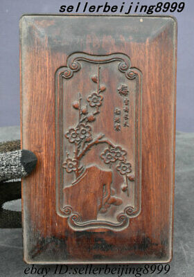 Old Chinese Huang Huali Wood Plum Blossom Flower Tree Totems Storage Box Casket