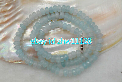 """Natural! 4x6mm Faceted Light Blue Aquamarine Gemstone Beads Necklaces 18"""" AAA"""