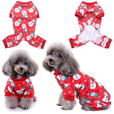 UK Pets Cat Christmas Snowman Costume Puppy Dog Coat Xmas Outfit Clothes Jumper