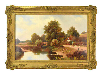 19th Century Landscape Painting Woman w Geese Alongside River Signed Jensen
