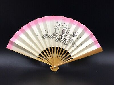 Japanese Folding Fan Sensu Bamboo Paper Kanji Tea Ceremony 27 CM
