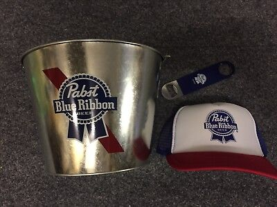 PBR Pabst Blue Ribbon Bucket, Truckers Cap +Bottle Opener. Great Gift!