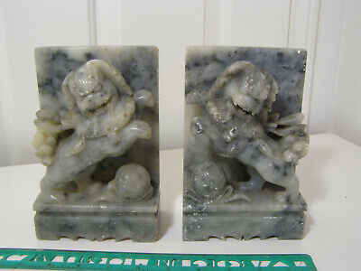 Beautiful Vintage Chinese carved soapstone Foo dogs bookends C 1930`s.