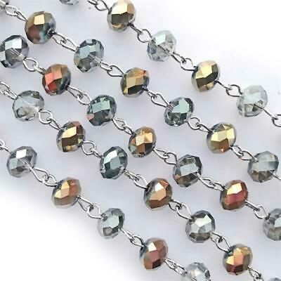 Gray Gold Copper Crystal Glass Beaded Rosary Silver Eyepin Chain 8x6mm Q2ft