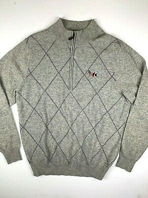 DONALD ROSS Mens 1/4 Zip Pullover Sweater 100% Lambswool Size M Gray