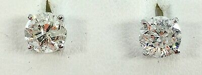 1.90 ct NATURAL DIAMOND stud earrings SOLID 14k white GOLD with screwbacks