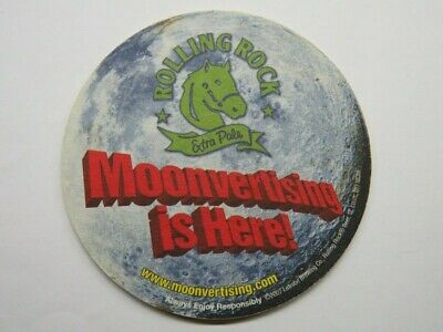 2007 Beer Bar Coaster ~ LATROBE Rolling Rock Extra Pale ~ Moonvertising Is Here!