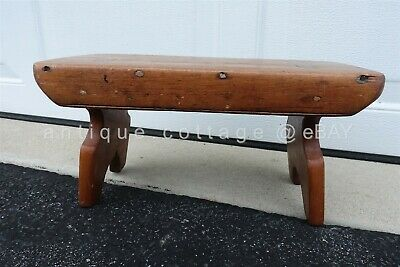 "1800 antique WOOD 15"" MORTISE BENCH foot MILKING stool child lancaster pa prim"