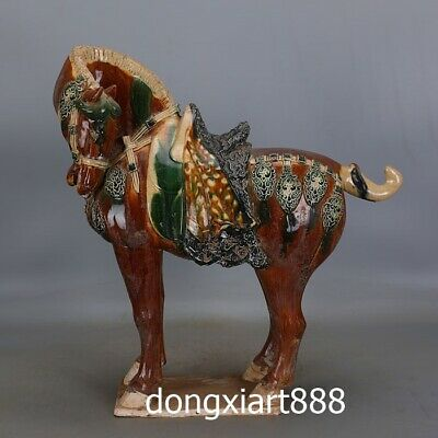 tri-coloured glazed pottery China Zodiac Wealth Fengshui Animal Horse sculpture