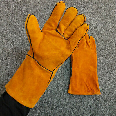 Heavy Duty Welding Welders Heat Resistant Leather Gloves Safety Fire Gauntlets
