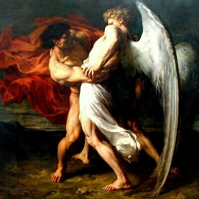 ZOPT1107 naked man&angel portrait handmade painted art oil painting on canvas