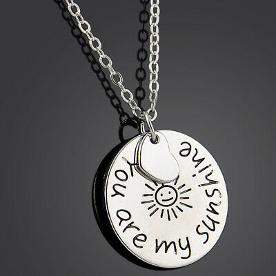 Men Women Necklace You Are My Sunshine Round Tag Alloy Letter Pendant Necklace