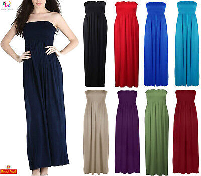 Ladies Summer Sheering Womens Strapless Bandeau Boob Tube Long Plain Maxi Dress