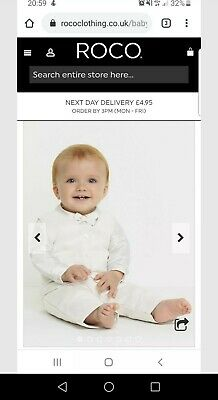 Roco Christening Boys Outfit - 18 months and size 22 shoes Worn Once