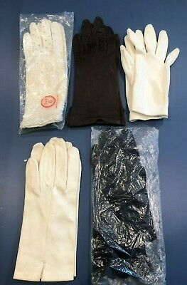 Lot 5 Pairs Woman's Vintage Gloves Leather Fabric Opera Beaded Evening Costume