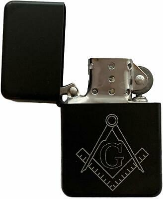 Emblems-Gifts Personalised Masonic Crest & G Black Petrol Star Lighter (T7)