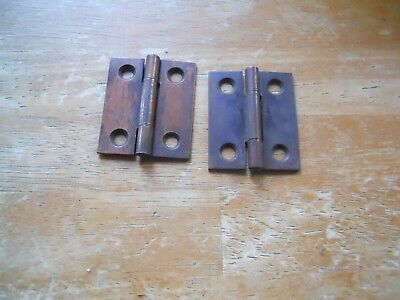 1 pair vintage small steel hinges old Hardware