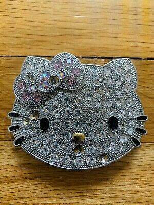 Metal HELLO KITTY Belt Buckle Silver Bling Pink And Black Accents