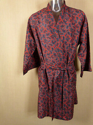 "Vtg St Michael M&S Mens Paisley Red Dressing Gown Size Medium To Fit 40 - 42"" Ch"
