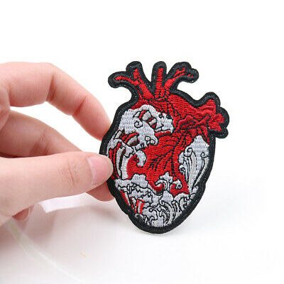 Heart of the Waves Embroidered Applique Sew Iron On Patch transfers Badges DIY