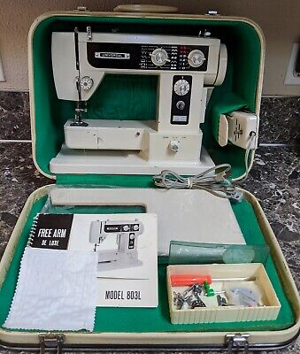 Vintage Universal Sewing Machine Model 803L Free Arm DeLuxe w/ Case Pedal Manual