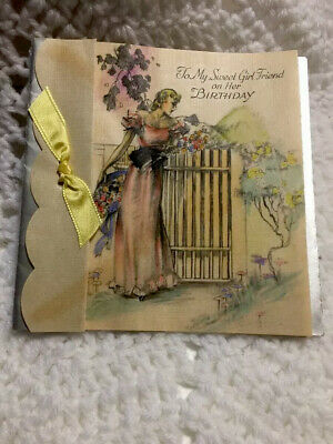 Gorgeous Handpainted 1950's Sweet Girlfriend Sweetheart Greeting Card Vintage